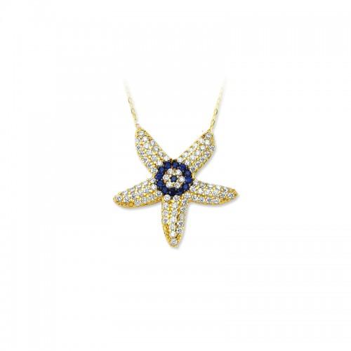 Altın    nazar boncuklu deniz yıldızı   Kolye