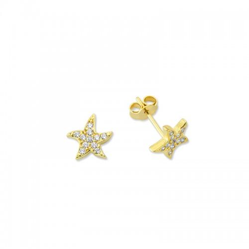 Altın Deniz Yıldızı Küpe